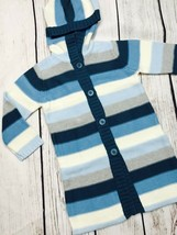 New Girls 4 Gymboree Long Knit Sweater Striped Blue Gray Hood - $15.78