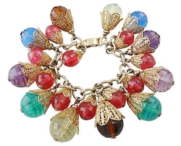 Napier BOOK PIECE Faceted Charm Runway Couture Bracelet 1950s - $300.00