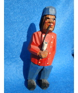 hand carved tiny wood man red jacket smoking pipe-Anri ??? - $80.00