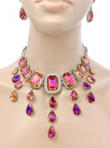 Statement Necklace Earrings Iridescent Tangerine/Purple Crystal Pageant Party - $41.80