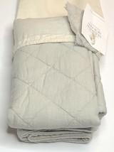 Restoration Hardware Garment-Dyed Diamond Quilted Linen Sham King Mist NEW $119 - $44.99
