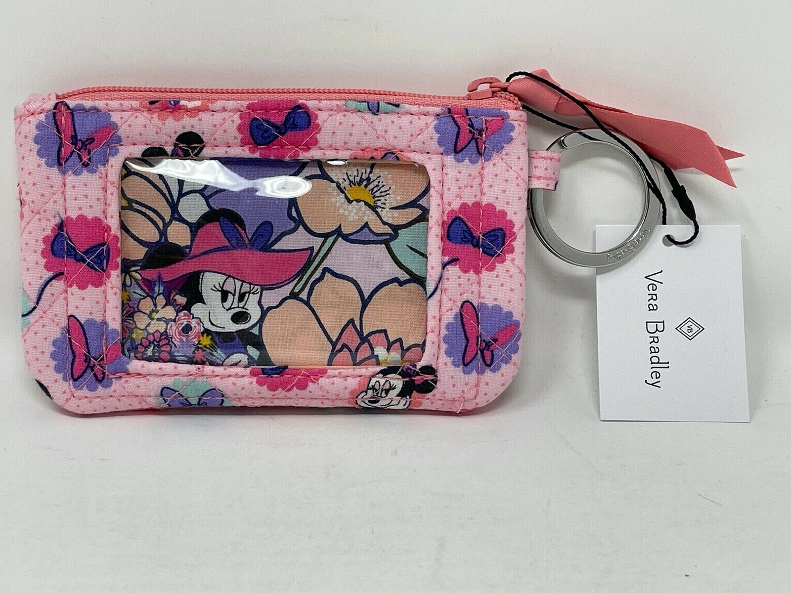 Disney Vera Bradley Zip ID Case Minnie Mouse Garden Dots Party Minnie's NWT A - $43.55