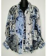 CHICOS Womens Blue Black White Floral Button Shirt Blouse Top Sz 3 (XL) LS  - $27.99