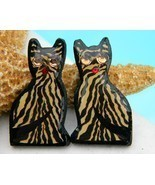 Vintage Cat Earrings Striped Tiger Tabby Handmade Black Gold - $12.95