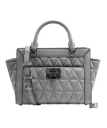 NEW! Michael Kors Vivianne Pearl Gray Quilted Leather Small Messenger Ba... - $199.00