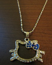 Dazzling Blue Sapphire & CZ Hello Kitty Face Necklace & Pendant NEW! #D594 - $10.99
