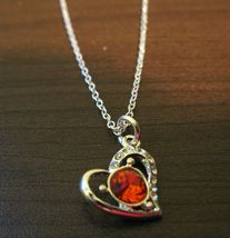 Beautiful Silver Round Red Rhinestone Solitaire Necklace & Pendant NEW! #D590 - $10.99