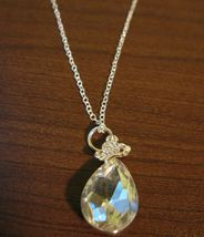 Chic Silver Pear Shaped White Topaz Solitaire Necklace & Pendant NEW! #D589 - $10.99