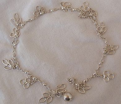Silver leaves anklet a 2