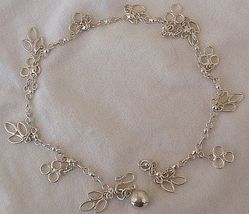Silver leaves anklet  - $24.00