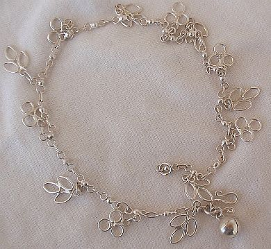 Silver leaves anklet