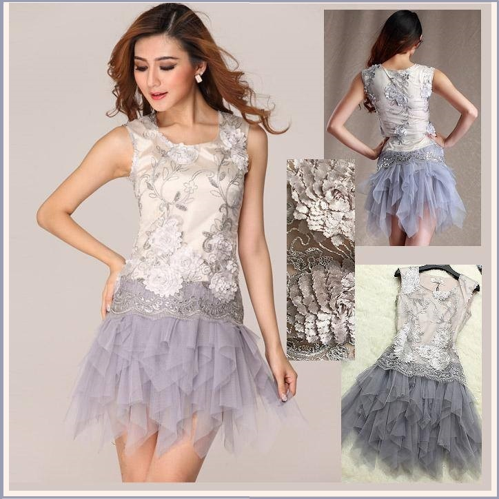 Princess Silver Flower Sequins Periwinkle Tiered Short Mini Prom Gown