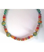 Vintage Hippie Folk Boho Wooden Bead Necklace N... - $12.86
