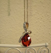 Stunning Gold Red Ruby & Diamond Ribbon Necklace New! #D523 - $10.99