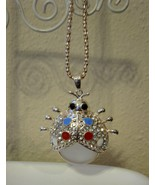 Beautiful Silver Mother of Pearl Lady Bug Neckl... - $9.99