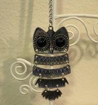 Pretty Black Onyx Owl Necklace New! #D521 - $9.99