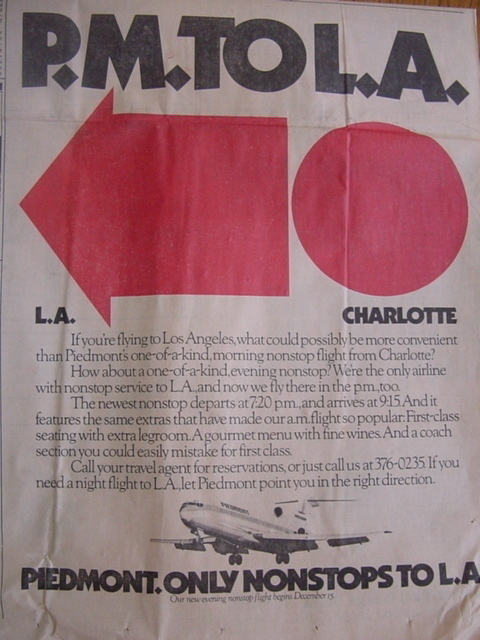 PIEDMONT AIRLINES 1984 L.A. NEWSPAPER AD