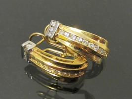 Vintage 14K Solid Gold Two-Tone .72ct Genuine Diamond Earrings - $715.00