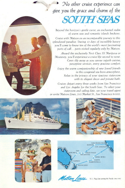 1962 Matson Lines South Seas Cruise ship route print ad
