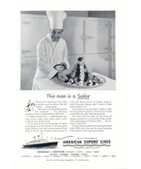 1954 American Export Lines SS Independence sailor chef print - $10.00
