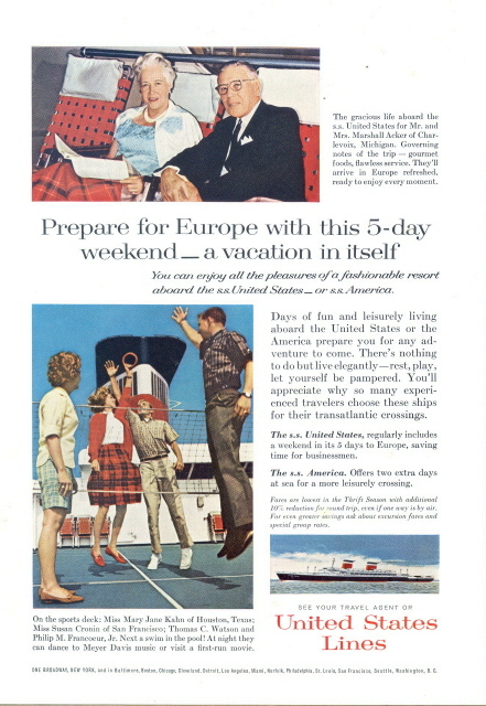 1963 United States Lines cruise ship deck sports print ad