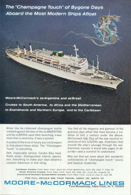 1963 Moore McCormack Lines Cruises to South America print ad