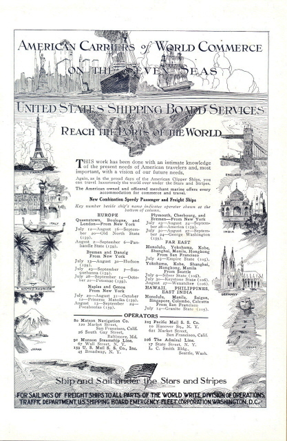 1921 US Shipping Board Service Worldwide Ports print ad