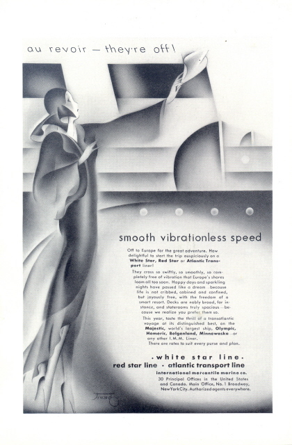 1928 White Star Red Star Atlantic Transport Liner print ad