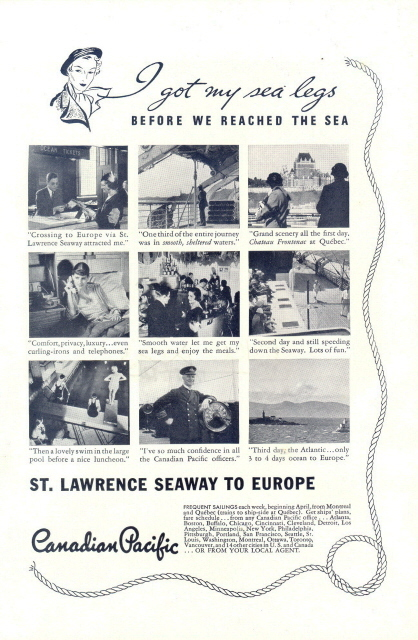 1928 Canadian Pacific St Lawrence Seaway to Europe print ad