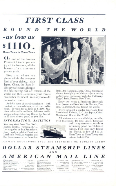 1937 Dollar Steamship & American Mail Line print ad