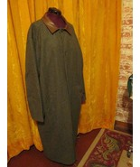 Vintage Eddie Bauer Wool Mens long Green Tweed Wool Trench Business Coat... - $90.00