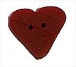 "Small Red True Heart 3506s handmade clay button .375"" JABC Just Another Button C - $1.40"