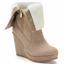Nib Juicy Couture Fold Over Taupe Kasia Boots - Women's Us 9.0