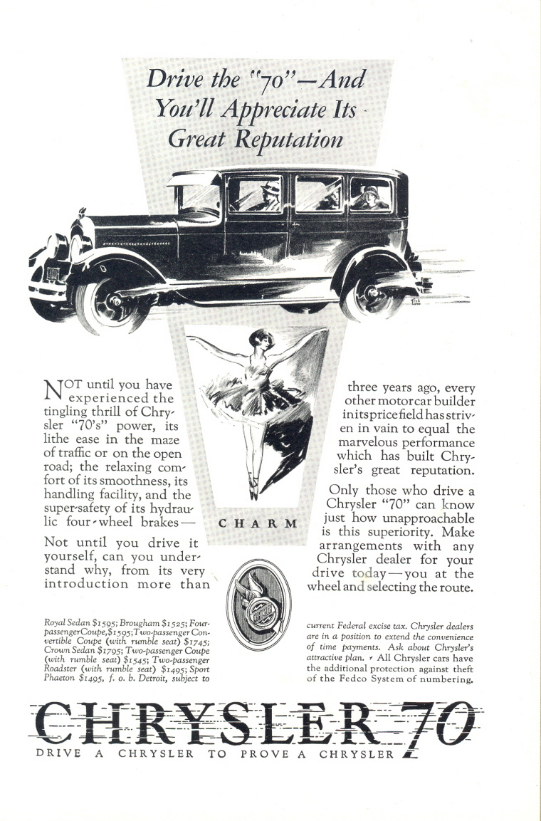 1926 Chrysler 70 Charm Reputation Car vintage print ad