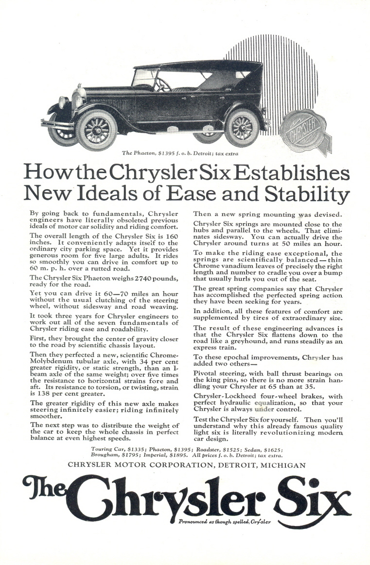 1924 Chrysler Six Car The Phaeton vintage automobile print ad