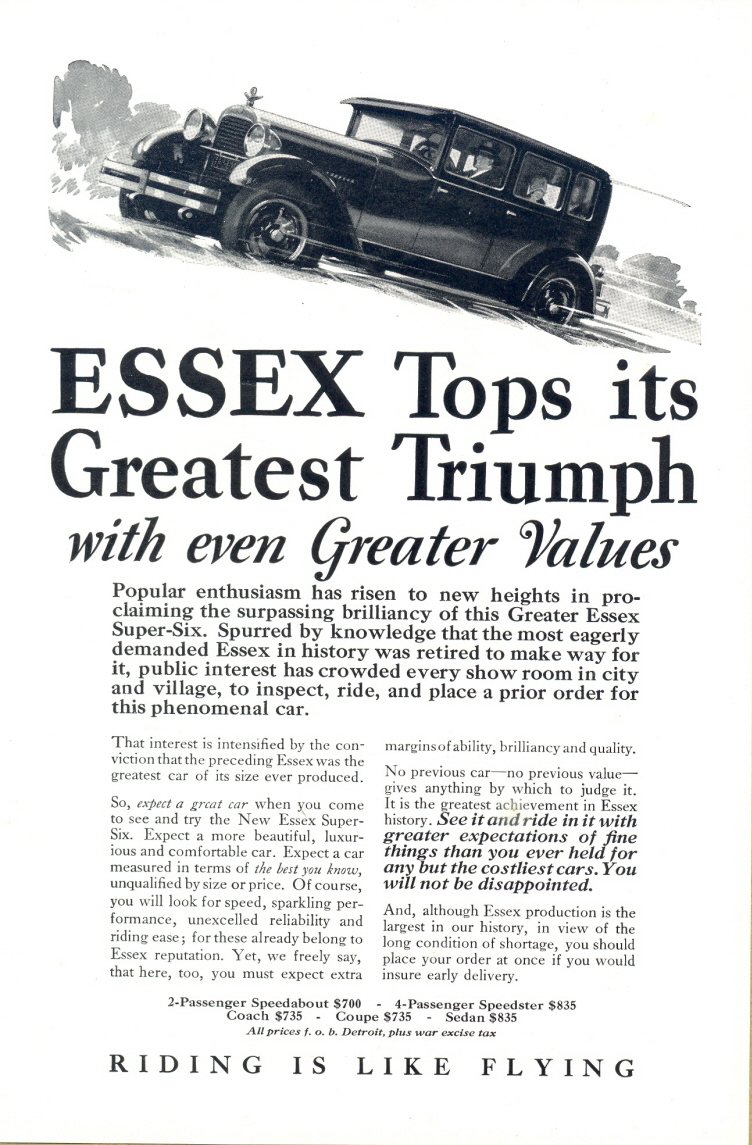 1924 Essex New Super Six Car uphill vintage automobile print