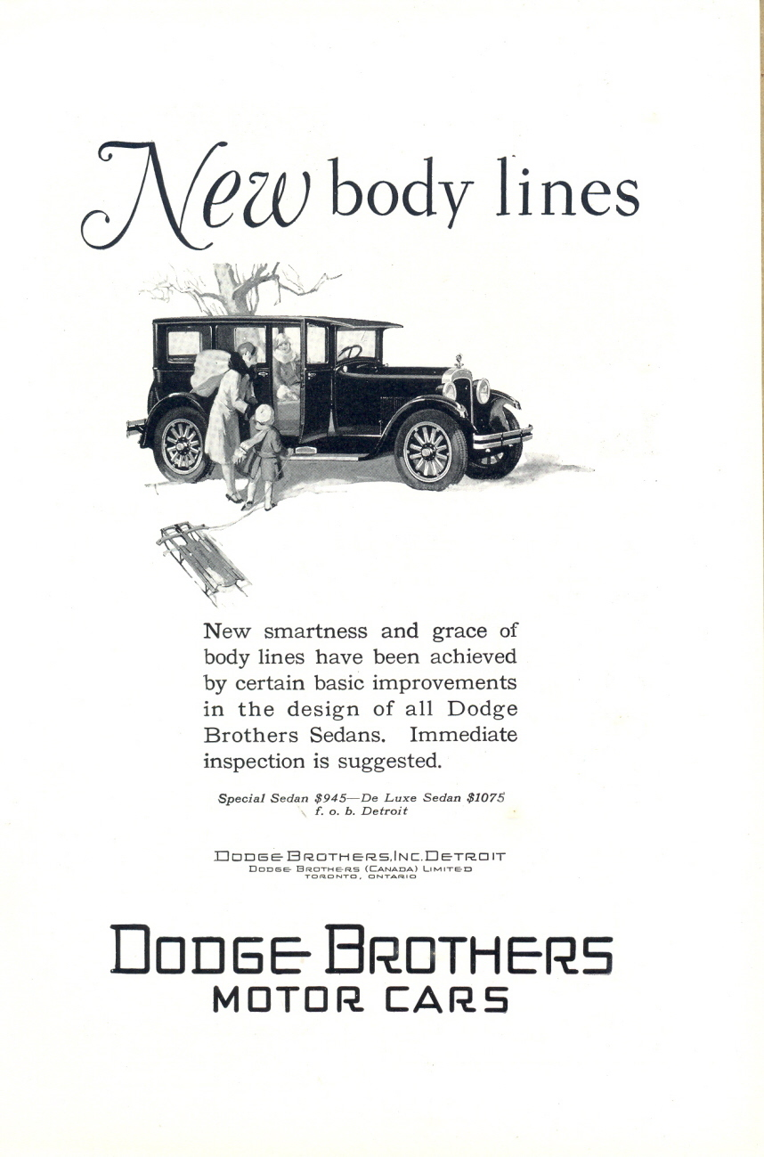 1925 New Body Line Dodge Car Special Sedan print ad