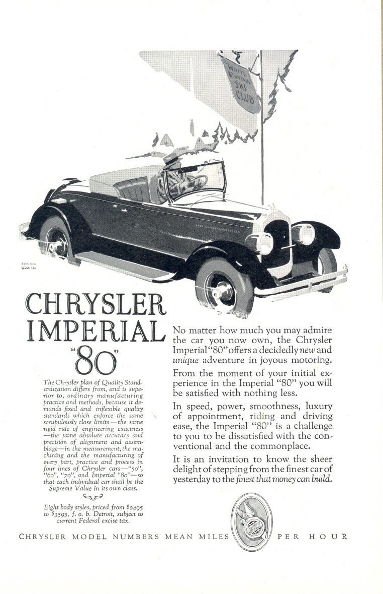 1925 Chrysler Imperial 80 Car vintage automobile print ad