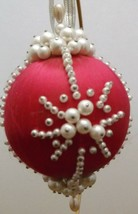 Vintage Handmade Rose Colored Satin Ball Beaded Christmas Ornament  - $12.86