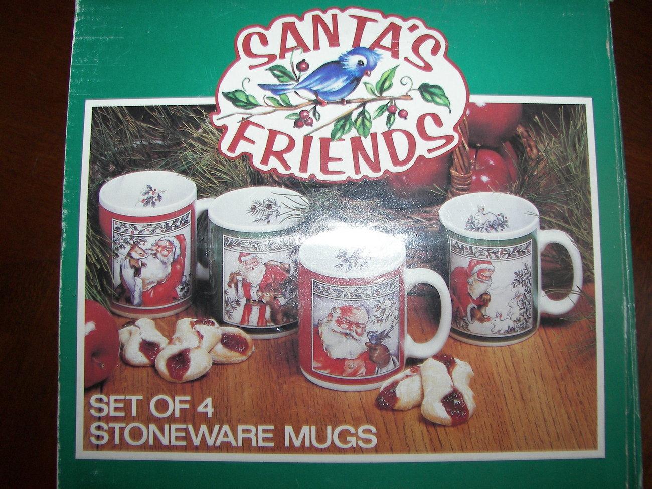 Set of 4 Christmas Mugs Stoneware Coffecups