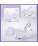 Fluffy White Marabou Feathered Clear Crystal High Heel Mule Platform Slides - $128.95+