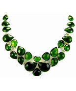Forest Green Teardrops of Checker-Board faceted... - $265.55