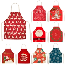 Cotton Christmas Apron For Woman Merry Christmas Kitchen Decorations Home  - $9.00