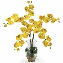 "Luxury Yellow Phalaenopsis Liquid Illusion Faux Silk Flower Arrangement - 31"" - $112.86"