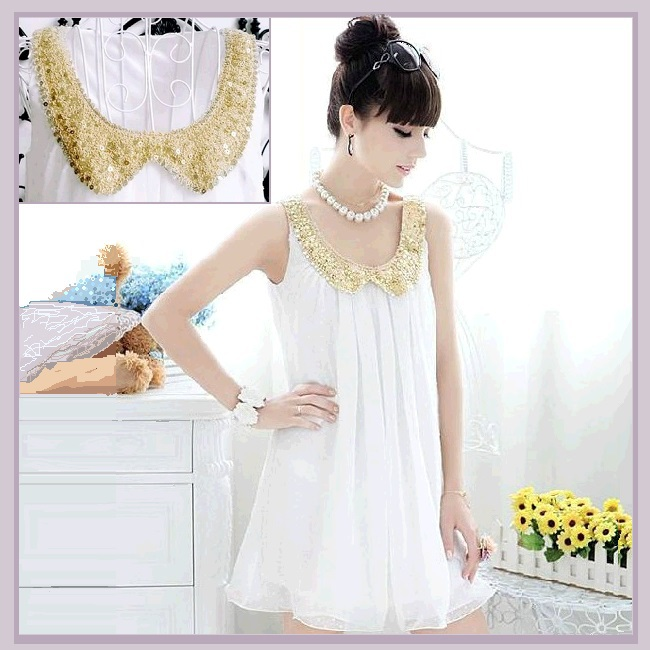 Sophisticated Sleeveless White Pleated Chiffon w/ Gold Sequined Peter Pan Collar