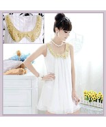 Sophisticated Sleeveless White Pleated Chiffon w/ Gold Sequined Peter Pa... - $33.95