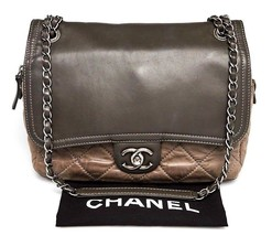 CHANEL Grey Quilted Iridescent Calfskin Leather In-the-Mix Flap Shoulder... - $1,777.05