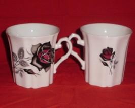 Royal Grafton Black Rose Bone China Mug Tea Coffee Set of 2 - $32.00