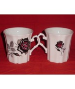Royal Grafton Black Rose Bone China Mug Tea Coffee Set of 2 - $32.00