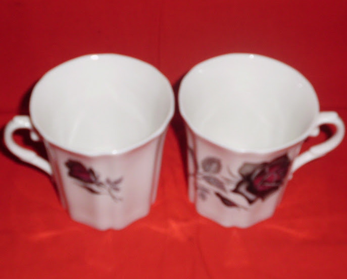 Royal Grafton Black Rose Bone China Mug Tea Coffee Set of 2